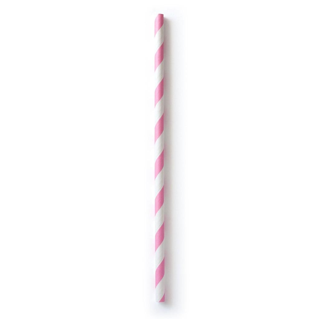 Pajita raya rosa blanco (25u.) Totalmente compostables