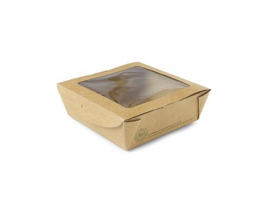 Caja para ensalada pequeña con ventana 650ml (12x12x4,5)cm